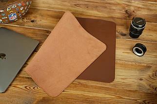 Кожаный бювар, подложка на стол 375 х 600 мм, натуральная кожа Grand, цвет Виски, фото 2