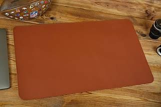 Кожаный бювар, подложка на стол 375 х 600 мм, натуральная кожа Grand, цвет Коньяк, фото 3