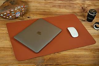 Шкіряний бювар, підкладка на стіл 375 х 600 мм, натуральна шкіра Grand, колір Коньяк, фото 2