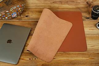 Кожаный бювар, подложка на стол 375 х 600 мм, натуральная кожа Grand, цвет Коньяк, фото 2
