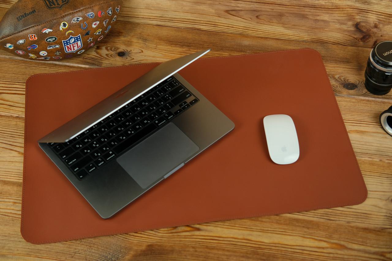 Шкіряний бювар, підкладка на стіл 375 х 600 мм, натуральна шкіра Grand, колір Коньяк