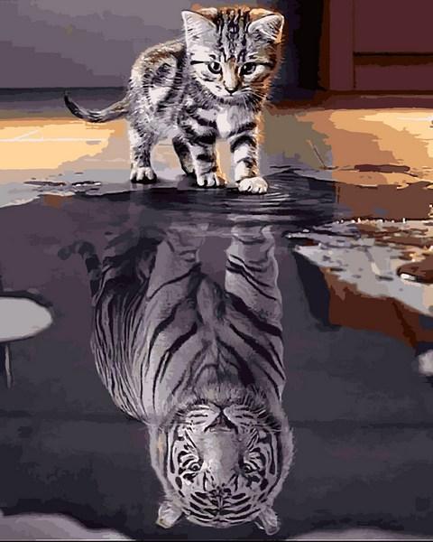 Картина за номерами Кошеня-тигр Вір у себе 40х50см Mariposa Turbo