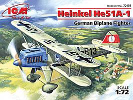 Германский истребитель-биплан Heinkel He-51 A1. 1/72 ICM 72193