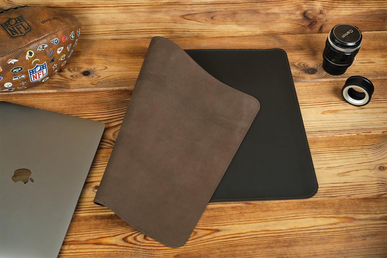 Кожаный бювар, подложка на стол 375 х 600 мм, натуральная кожа Grand, цвет Шоколад