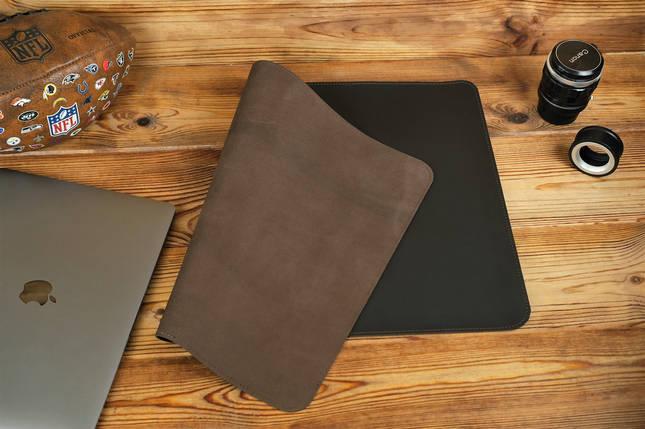 Шкіряний бювар, підкладка на стіл 375 х 600 мм, натуральна шкіра Grand, колір Шоколад, фото 2