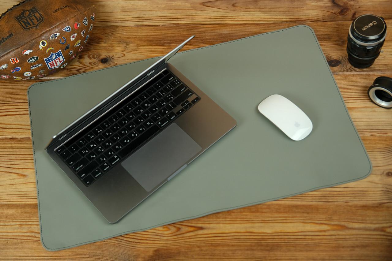 Шкіряний бювар, підкладка на стіл 375 х 600 мм, натуральна шкіра Grand, колір Сірий