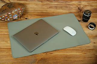 Шкіряний бювар, підкладка на стіл 375 х 600 мм, натуральна шкіра Grand, колір Сірий, фото 2