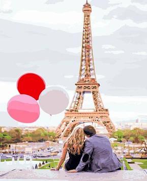 Картины по номерам 40х50 см Brushme Premium (цветной холст + лак) Парижская любовь (PGX 4886)