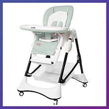 Детский стульчик для кормления с регулируемой спинкой Carrello Stella CRL-9503 Aspen Green зеленый на колесах