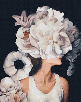 Картины по номерам 40х50 см Premium (цветной холст + лак) Девушка с цветущими мыслями (PGX 36769)(без коробки)