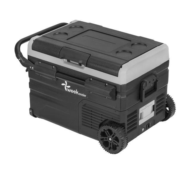 Автохолодильник с заморозкой 35 литров с аккумулятором на две секции и телескопической ручкой
