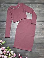 Комплект на дівчинку топ+спідниця, розмір 128-152, рожевий