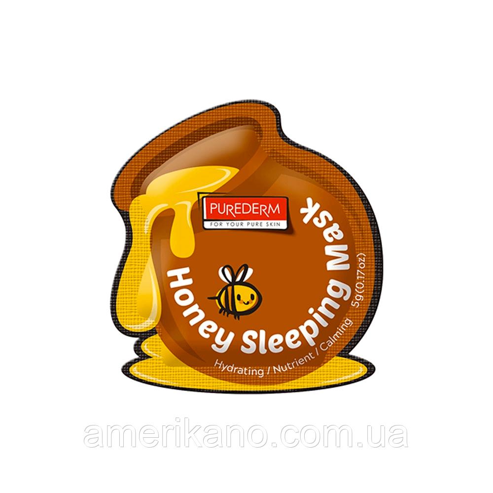 Поживна нічна маска з медом PUREDERM Honey Sleeping Mask, 5 мл
