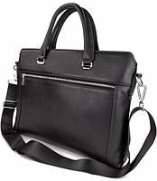 Классическая мужская деловая сумка из натуральной кожи Tiding Bag N7240 Черная, фото 3