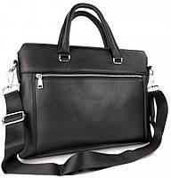 Классическая мужская деловая сумка из натуральной кожи Tiding Bag N7240 Черная, фото 6