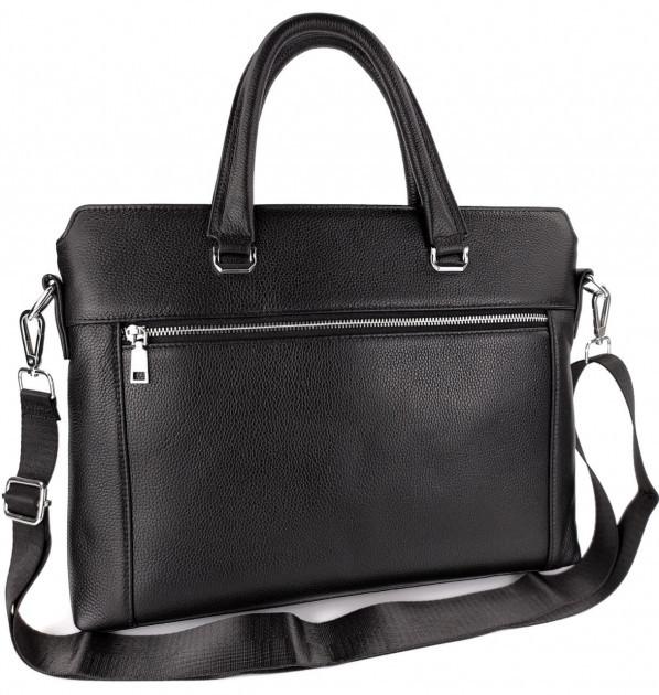 Классическая мужская деловая сумка из натуральной кожи Tiding Bag N7240 Черная