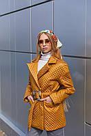 Демисезонная женская стеганая куртка с накладными карманами Mila Nova Куртка К-193 горчичного цвета, размер