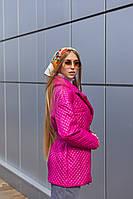 Демисезонная женская стеганая куртка с накладными карманами Mila Nova Куртка К-193 малинового цвета, размер