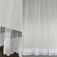 Тюль сетка с вышивкой на белой основе, тюль на отрез, тюль на метраж под нужные размеры