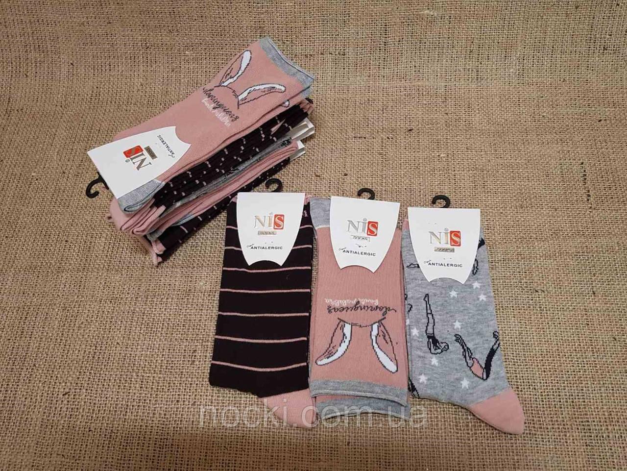 Жіночі шкарпетки високі комп'ютерні NIS асорті вушка,смужки,спортсменка