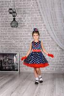 Нарядное детское темно-синее платье в горох , рост 98-158