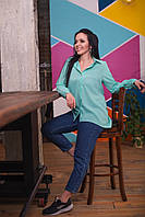 Жіноча стильна сорочка з подовженою спинкою