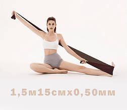 Лента эспандер для пилатеса эспандер лента для фитнеса  эспандер для растяжки (стречинга) 0,5 мм Черный