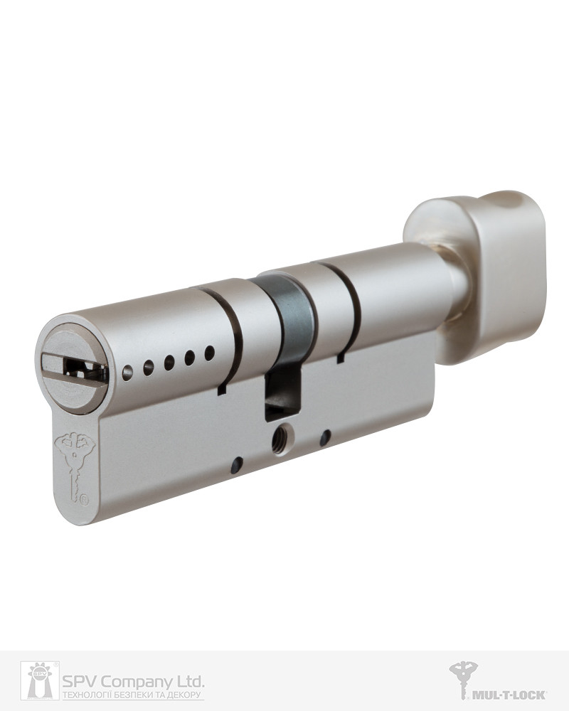 Циліндр MUL-T-LOCK CLASSIC PRO 92 мм (27х65Т) ключ-тумблер матовий хром