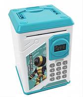 Детская копилка сейф с ультрафиолетовым кодовым замком и отпечатком пальца Robot Bodyguard Синий