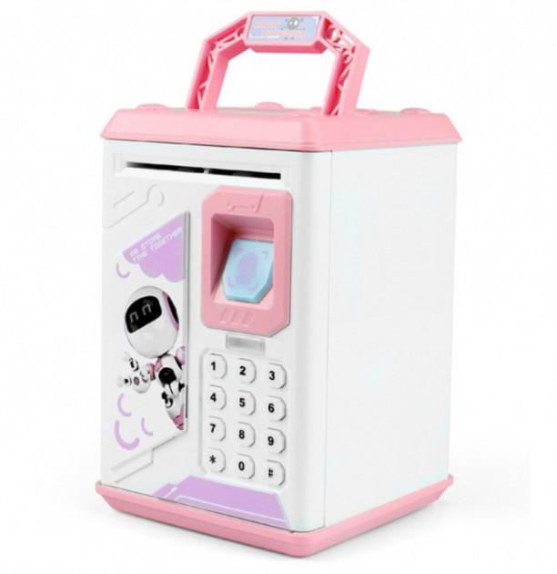 Детская копилка сейф с ультрафиолетовым кодовым замком и отпечатком пальца Robot Bodyguard Розовый