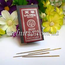 Игла гобеленовая с золотым ушком №26, длина 4 см, для вышивки лентами и нитками