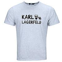 Футболка мужская бел меланж KARL LAGERFELD #4 патчем WTGRI L(Р) 21-809-020