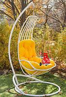 Садовое подвесное кресло качели кокон Kairo White со стойкой, подвесное кресло-шар, подвесные садовые качели