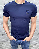 Брендовая Футболка Billionaire мужская бренд темно-синяя однотонная биллионер , люкс копия brand