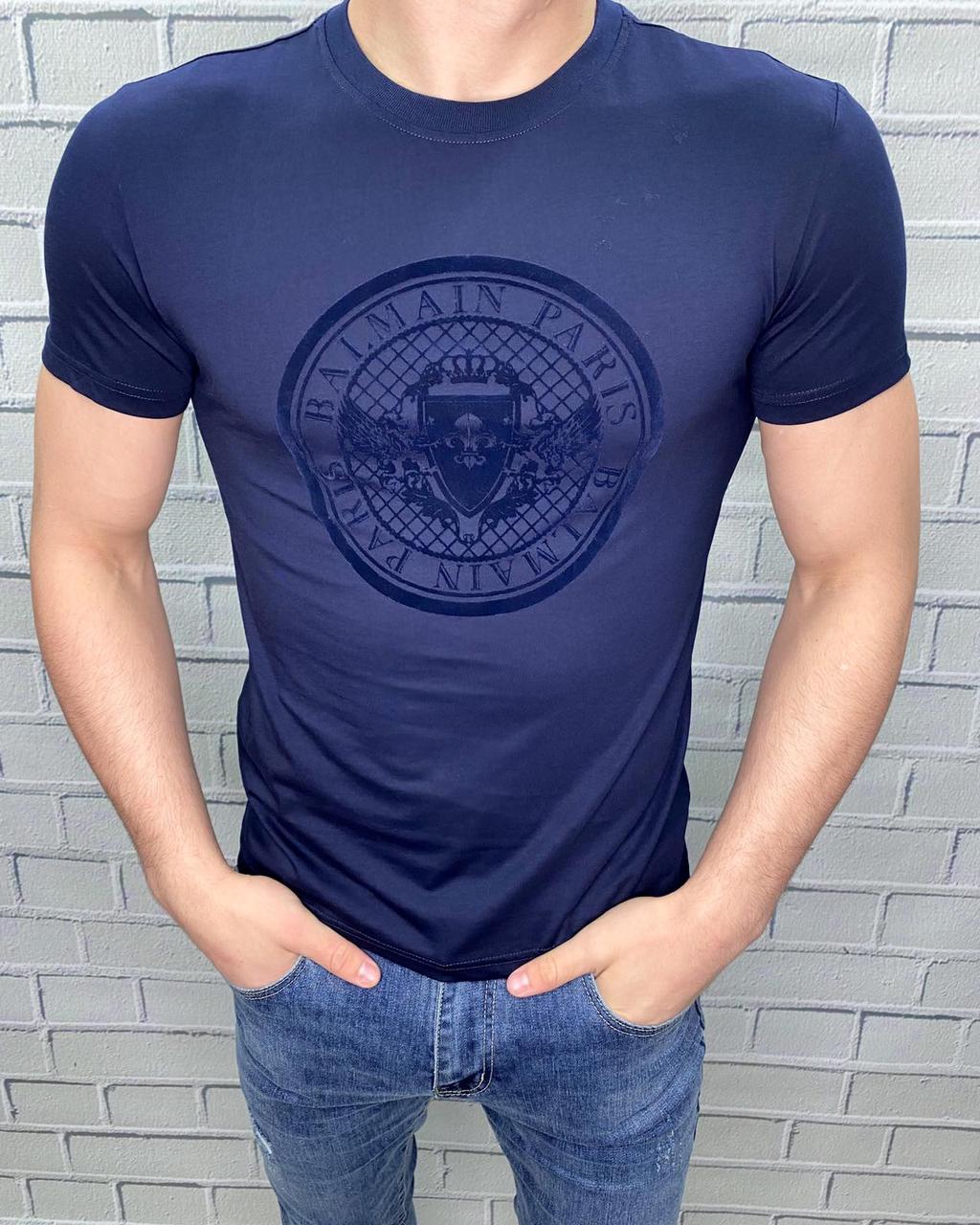 Футболка мужская Balmain Темно-синий Стильная С надписью Однотонная Бальман для мужчин на каждый день 50