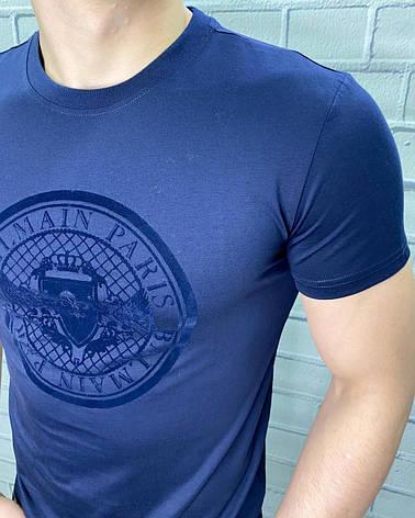 Футболка мужская Balmain Темно-синий Стильная С надписью Однотонная Бальман для мужчин на каждый день 50, фото 2