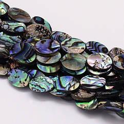 Бусины Морской Перламутр Абалон, Овальные, Цвет: Разноцветный, Размер: 12x8x3мм, Отверстие 1мм, около