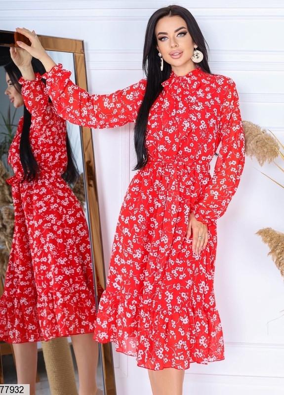 Шифонове плаття в квіточку з довгими рукавами на гумці і коміром-бант з 42 по 48 розмір