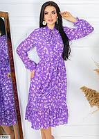 Шифонове плаття в квіточку з довгими рукавами на гумці і коміром-бант з 42 по 48 розмір, фото 2