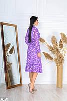 Шифонове плаття в квіточку з довгими рукавами на гумці і коміром-бант з 42 по 48 розмір, фото 3