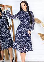 Шифонове плаття в квіточку з довгими рукавами на гумці і коміром-бант з 42 по 48 розмір, фото 4