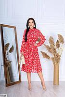 Шифонове плаття в квіточку з довгими рукавами на гумці і коміром-бант з 42 по 48 розмір, фото 6