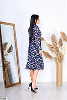 Шифонове плаття в квіточку з довгими рукавами на гумці і коміром-бант з 42 по 48 розмір, фото 7