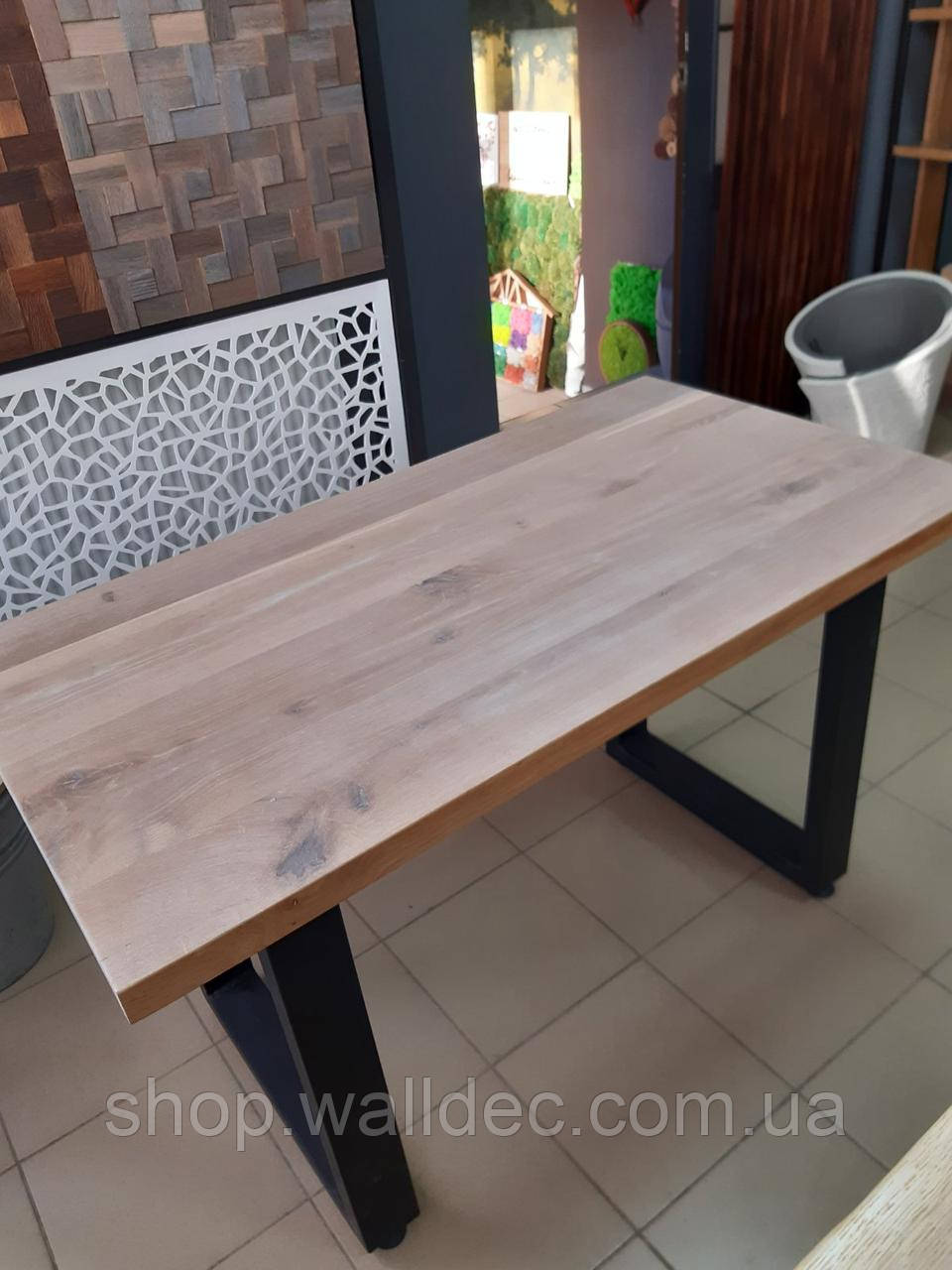 Обідній стіл з масиву дуба колір вибілений