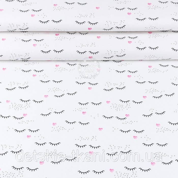 """Ткань ранфорс шириной 240 см """"Ресницы и розовые сердечки"""" на белом (№3404)"""