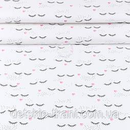 """Тканина ранфорс шириною 240 см """"Вії і рожеві сердечка"""" на білому (№3404)"""