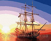 Картина по номерам Brushme Парусник GX32375 Пейзаж Природа Вода корабль лодка море закат