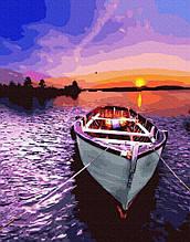Картина по номерам Brushme Лодка на западе GX26162 Закат Пейзаж Природа Вода горы лодка море