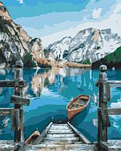 Картина по номерам Brushme Лодка у озера Брайес GX29450 Пейзаж Природа Вода горы лодка море