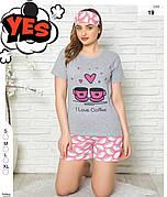 Пижама женская футболка и шорты + маска для сна хлопок Турция № 19
